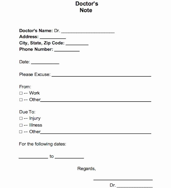 Doctors Notes for Work Template Fresh 21 Free Doctor Note Excuse Templates Template Lab