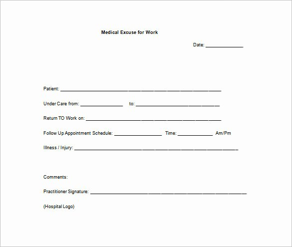 Doctors Notes for Work Template New Return to Work Doctors Note Template