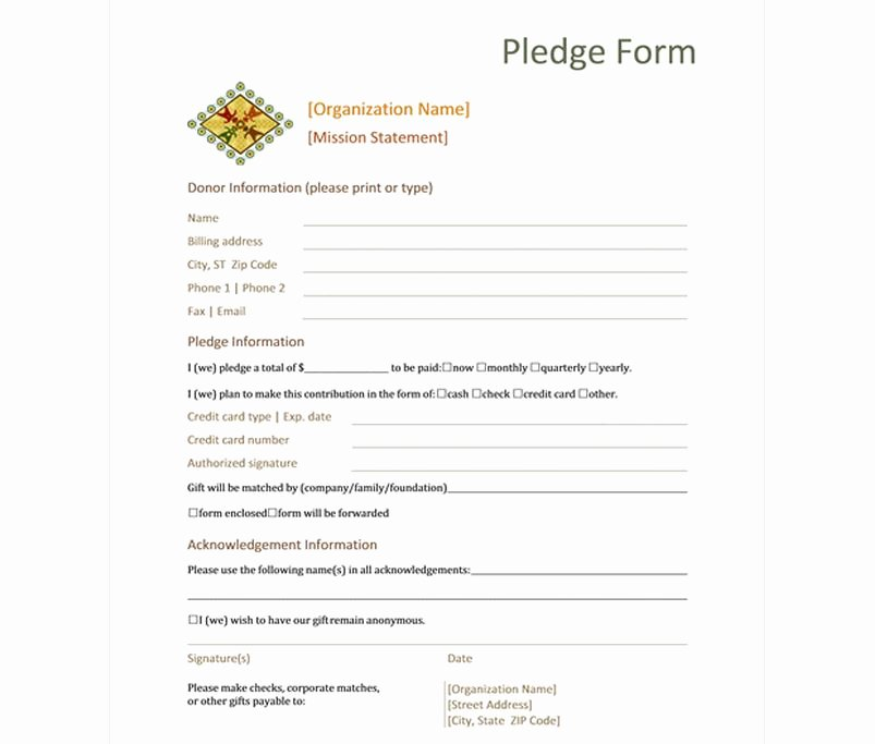 Donation Pledge form Template Best Of Donation Pledge form