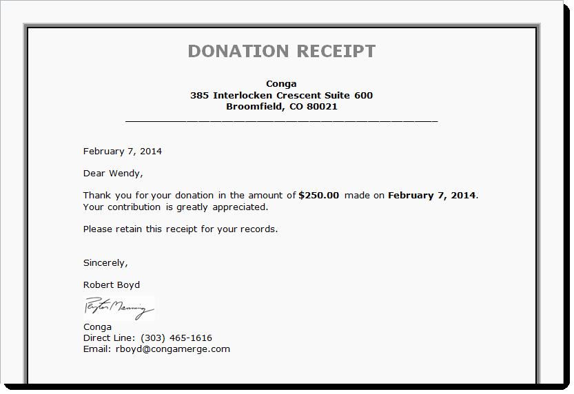 Donation Receipt Letter Templates Unique Tax Receipts Board Reports and More Generating Documents