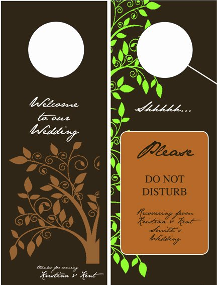 Door Hanger Template Illustrator Awesome Door Hangers for the Hotel Rooms at Our Wedding