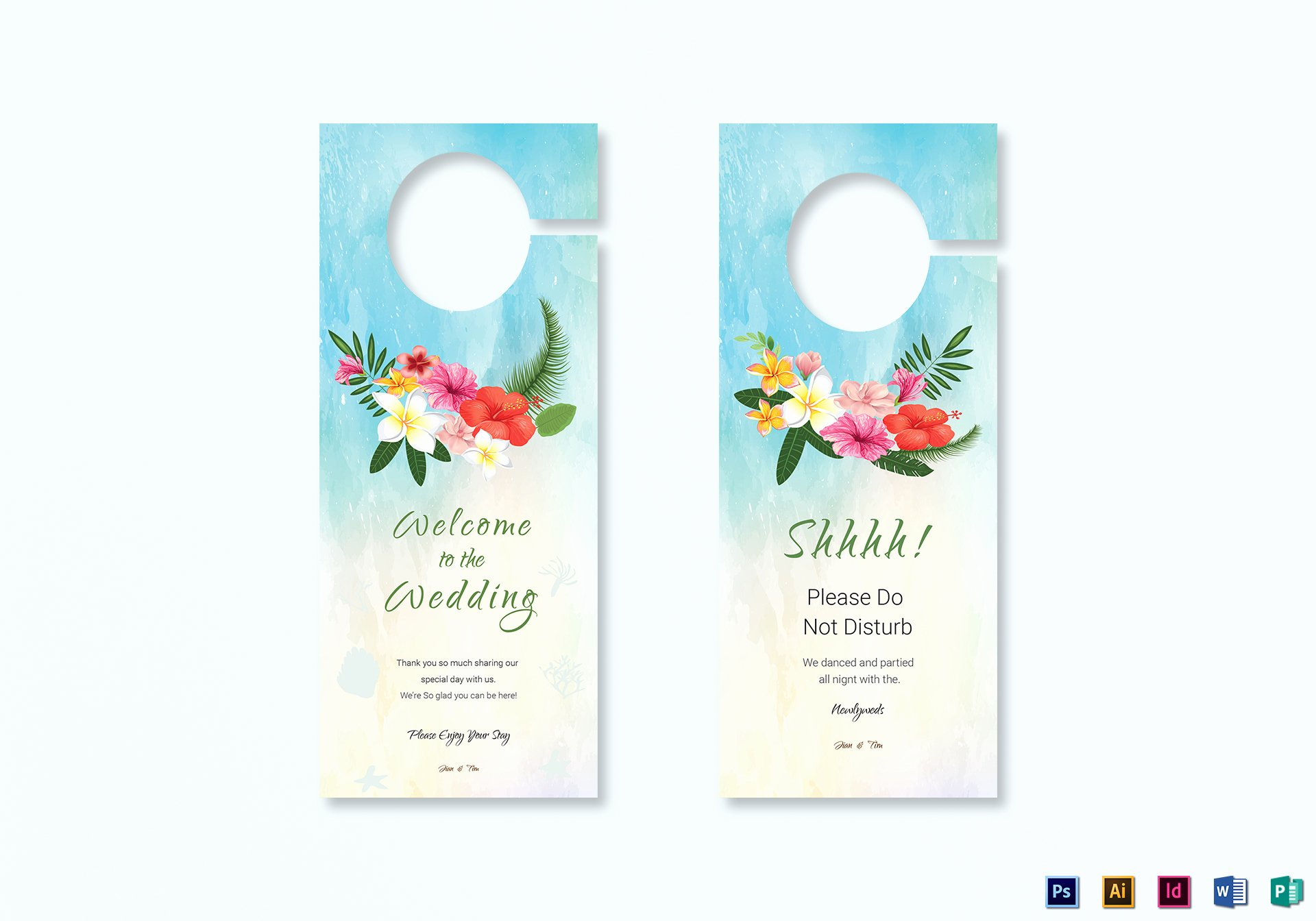 Door Hanger Template Illustrator Best Of Beach Wedding Door Hanger Template In Psd Word Publisher