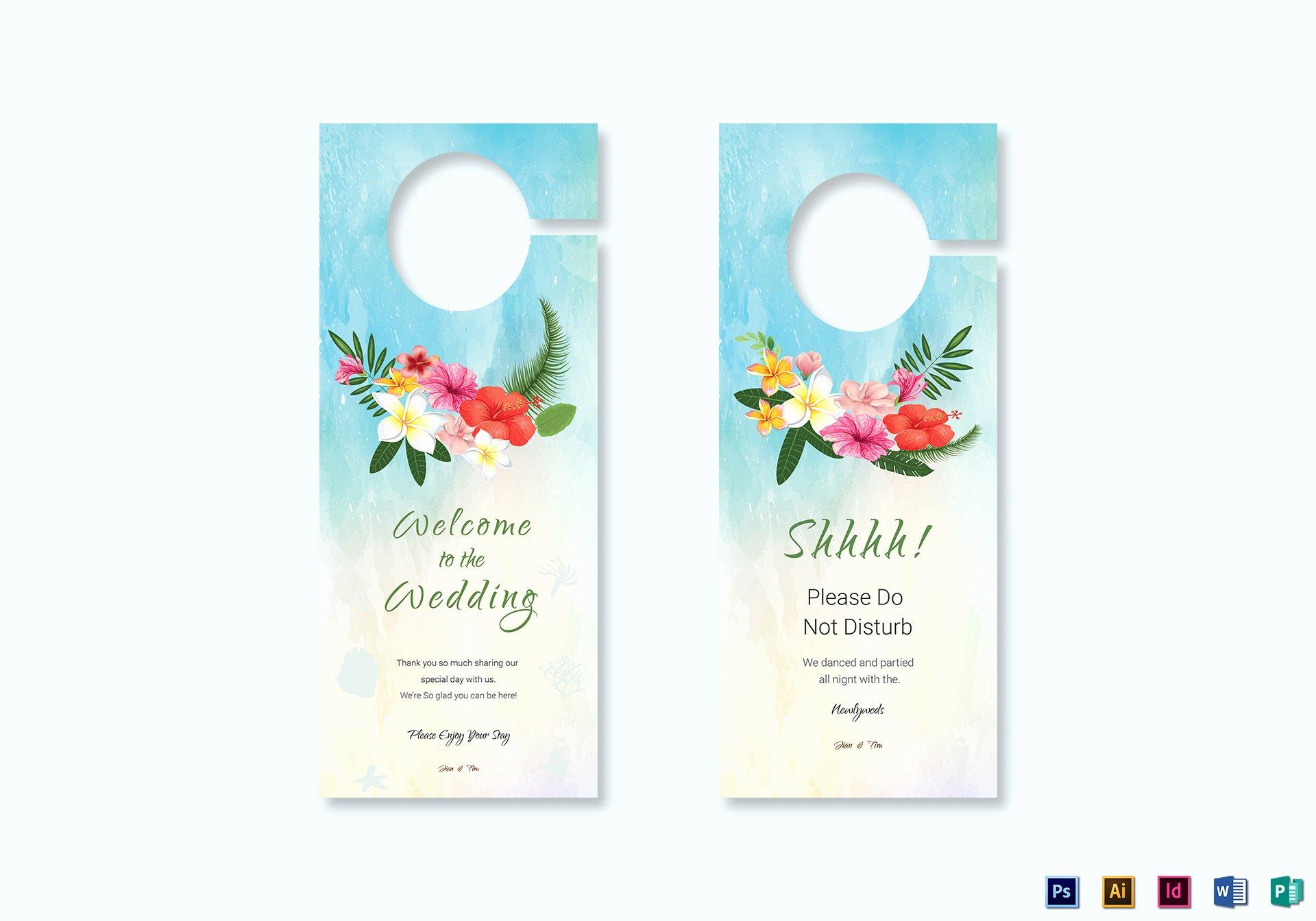 Door Hanger Template Illustrator Best Of Beach Wedding Door Hanger Template In Psd Word Publisher