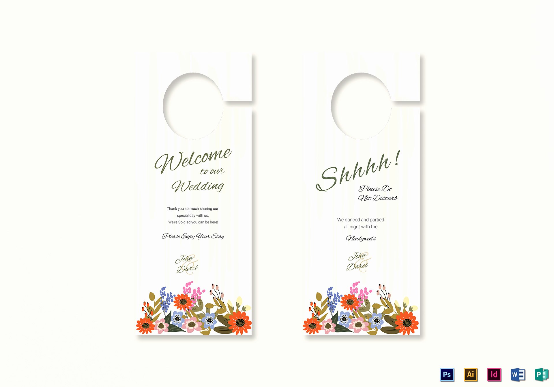 Door Hanger Template Publisher Fresh Summer Floral Wedding Door Hanger Card Design Template In