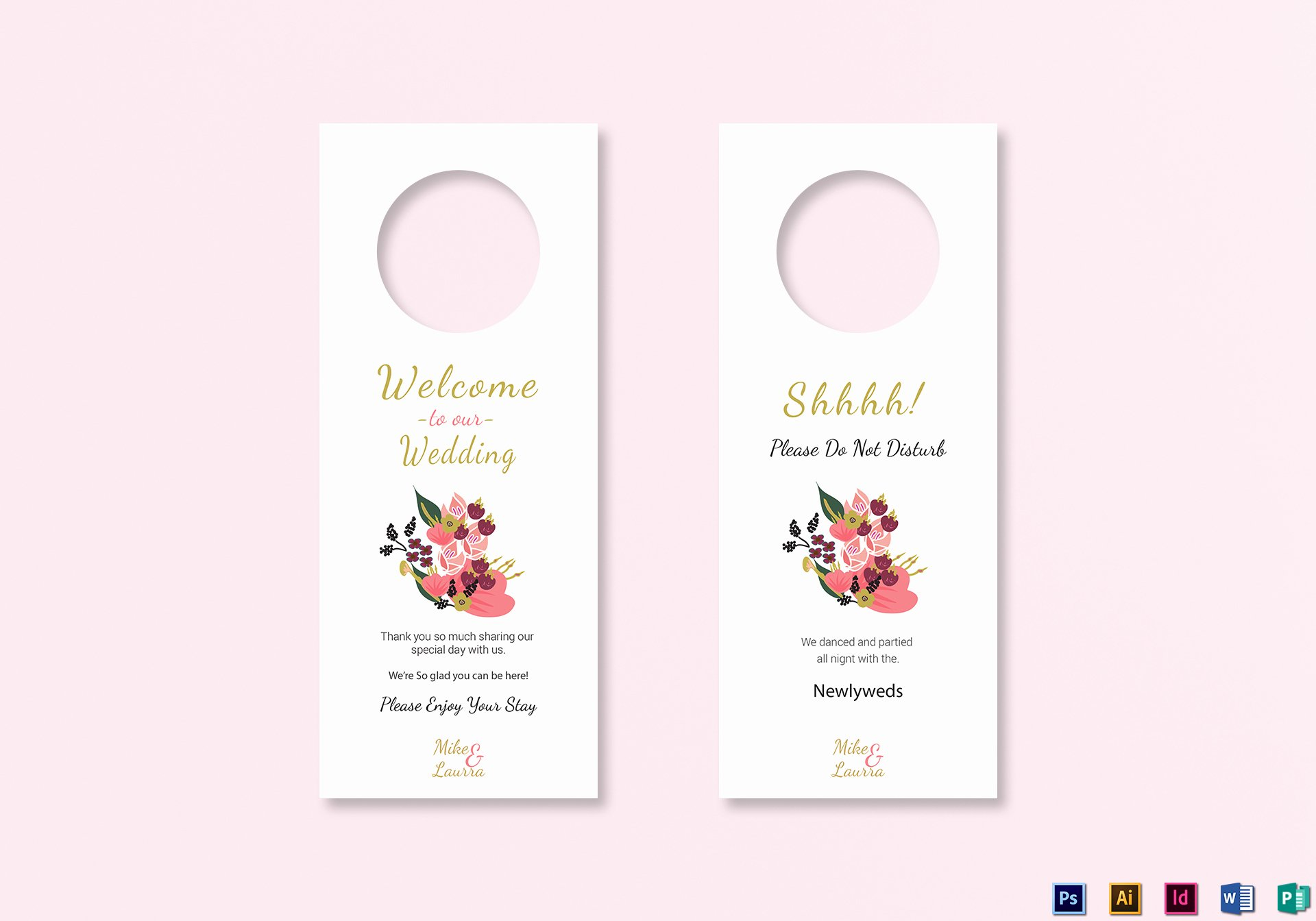 Door Hanger Template Publisher Unique Burgundy Floral Wedding Door Hanger Card Template In Word