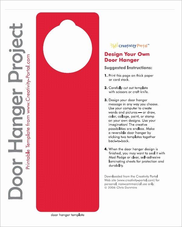 Door Hanger Template Word Elegant Free 15 Door Hangers In Psd Vector Eps