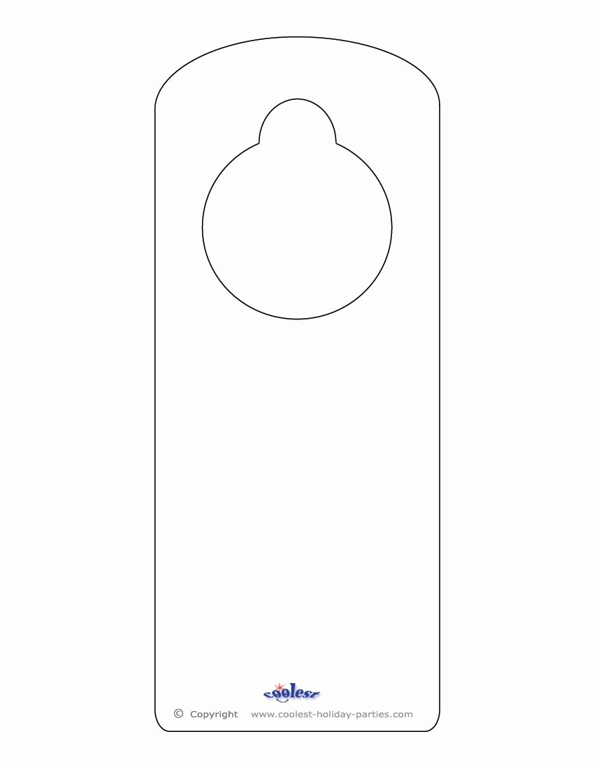 Door Hanger Templates for Word Elegant Blank Printable Doorknob Hanger Template