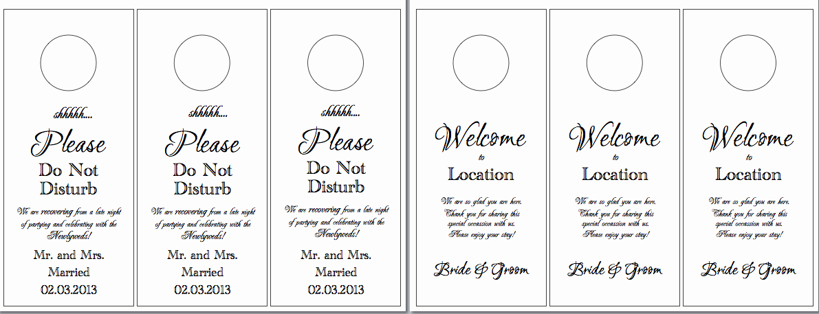 Door Hanger Templates for Word Lovely Hotel Door Hangers