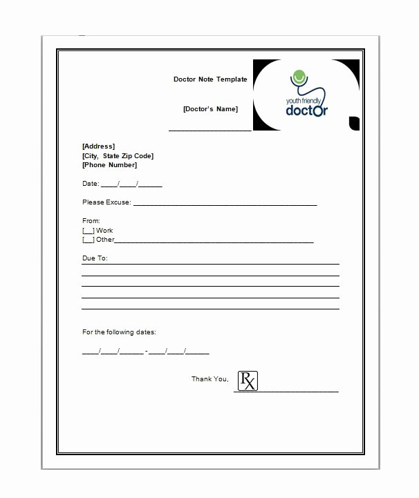 Drs Excuse Note Template Fresh 25 Free Doctor Note Excuse Templates Template Lab