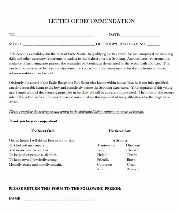 Eagle Scout Reference Letter Template Awesome 10 Eagle Scout Letter Of Re Mendation to for