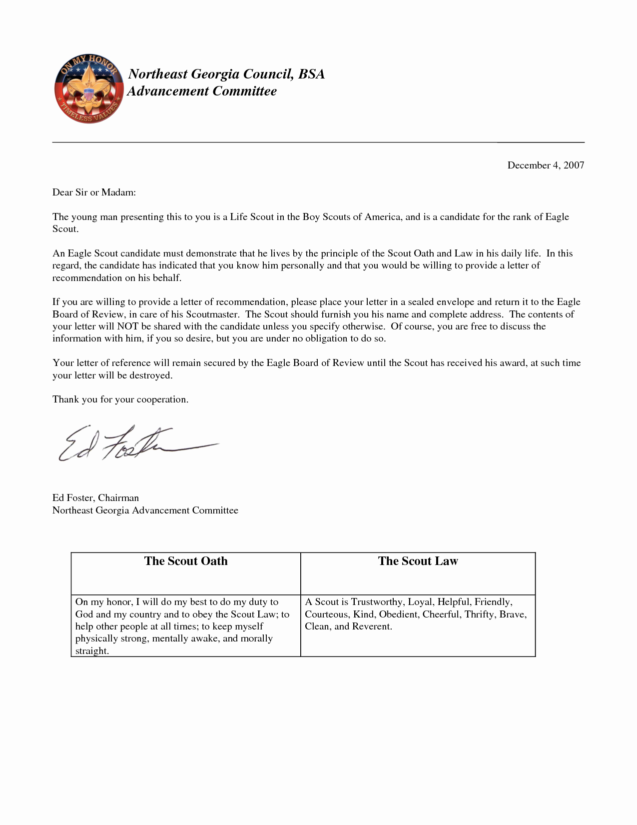 Eagle Scout Reference Letter Template Awesome Best S Of Eagle Scout Re Mendation Reference Letter