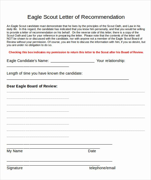 Eagle Scout Reference Letter Template Beautiful Sample Eagle Scout Letter Of Re Mendation 9 Download