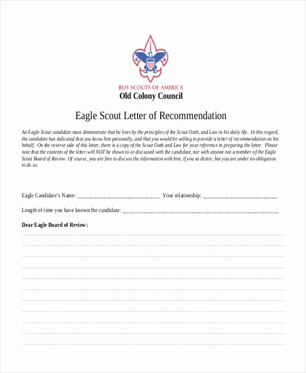 Eagle Scout Reference Letter Template Inspirational 12 Sample Eagle Scout Re Mendation Letter Templates