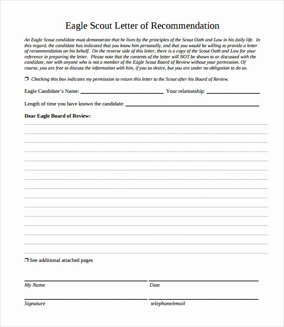 Eagle Scout Reference Letter Template Inspirational Eagle Scout Letter Of Re Mendation 9 Download
