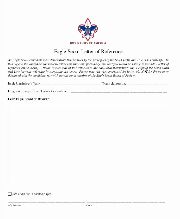 Eagle Scout Reference Letter Template Inspirational Eagle Scout Letter Re Mendation