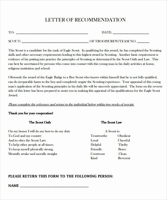 Eagle Scout Reference Letter Template Lovely Sample Eagle Scout Letter Of Re Mendation 9 Download
