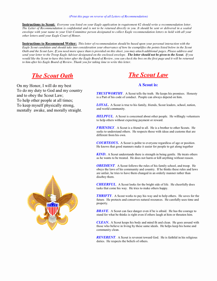 Eagle Scout Reference Letter Template New Eagle Scout Reference Letter Template In Word and Pdf