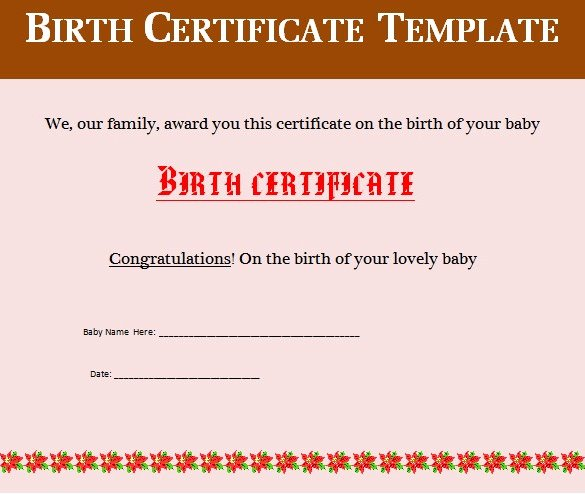 Editable Birth Certificate Template Best Of Birth Certificate Template 38 Word Pdf Psd Ai