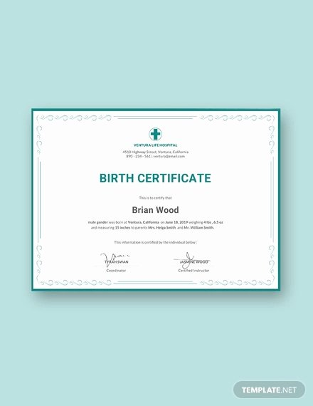 Editable Birth Certificate Template Inspirational Birth Certificate Template 38 Word Pdf Psd Ai