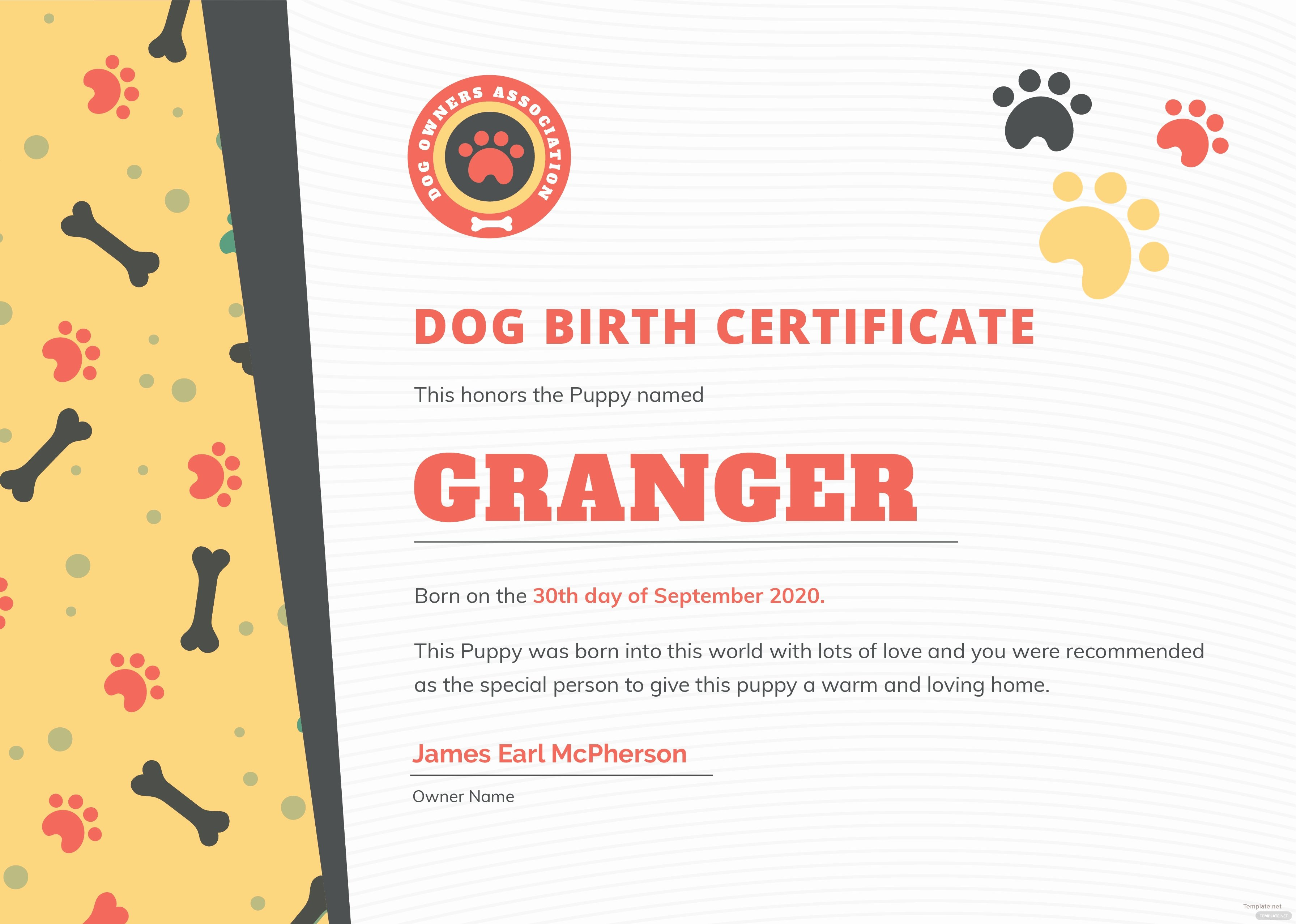 Editable Birth Certificate Template Luxury Free Dog Birth Certificate Template In Adobe Shop