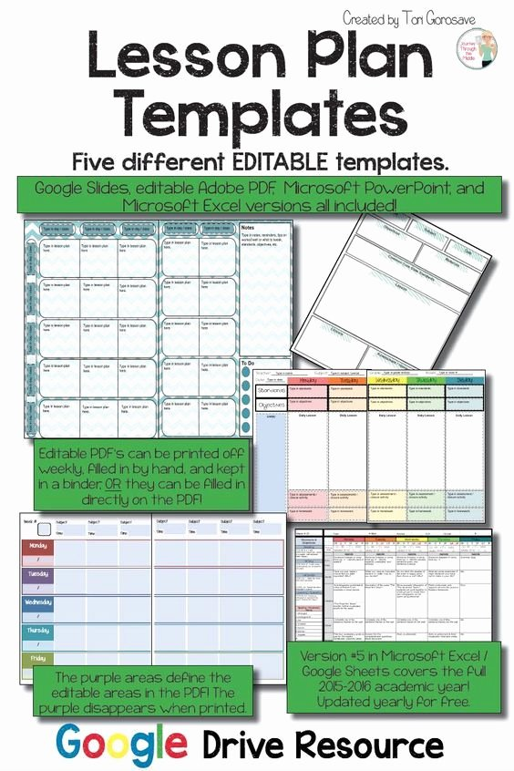 Editable Weekly Lesson Plan Template Inspirational Lesson Plan Templates Multiple Editable Templates