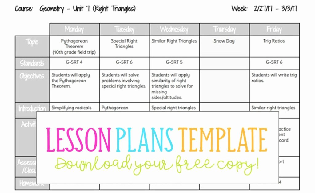 Editable Weekly Lesson Plan Template New Lesson Plans Template Busy Miss Beebe