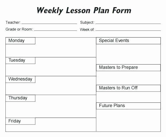 Editable Weekly Lesson Plan Template Unique Lesson Plan Template Free Editable – Editable Weekly