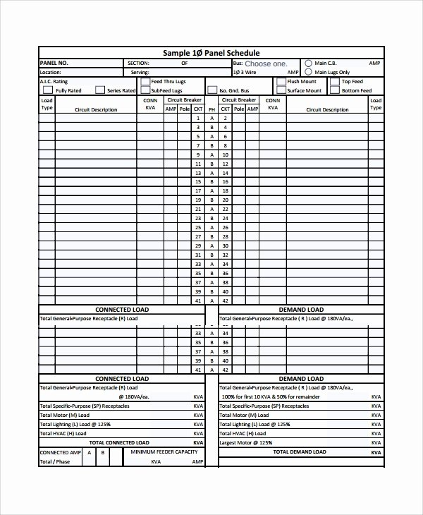 Electrical Panel Schedule Excel Template Lovely Sample Panel Schedule Template 7 Free Documents