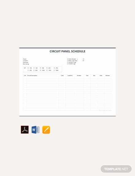 Electrical Panel Template Excel Awesome Free Electrical Panel Schedule Template Download 173