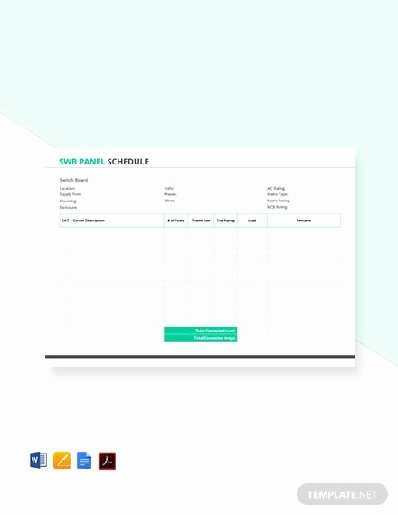 Electrical Panel Template Excel Fresh Free Electrical Panel Schedule Template Download 173