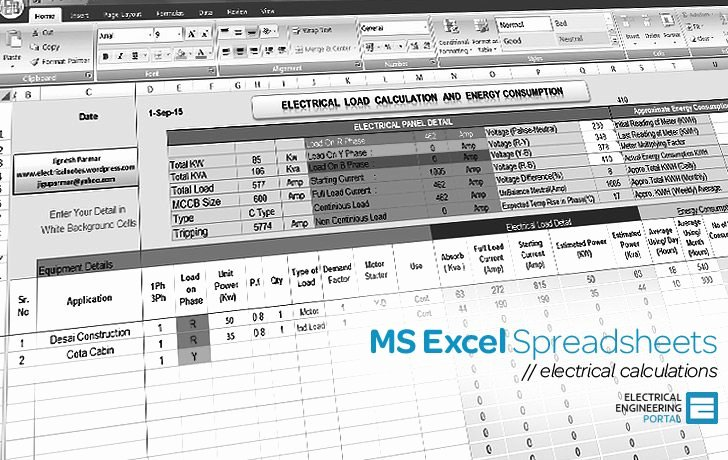 Electrical Panel Template Excel Lovely Electrical Ms Excel Spreadsheets