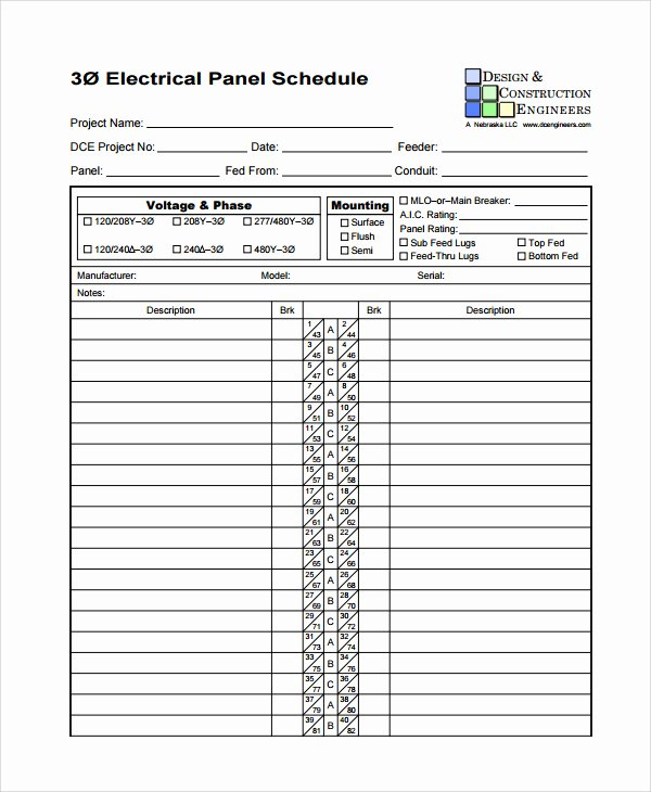 Electrical Panel Template Excel New Electric Panel Schedule Template