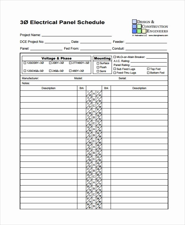 Electrical Panel Template Excel Unique Sample Panel Schedule Template 7 Free Documents