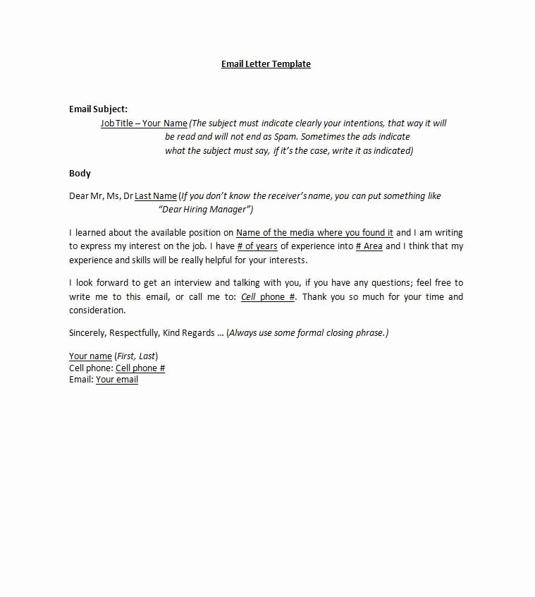 Email Cover Letter Templates Best Of Email Cover Letters Cover Letter Pinterest