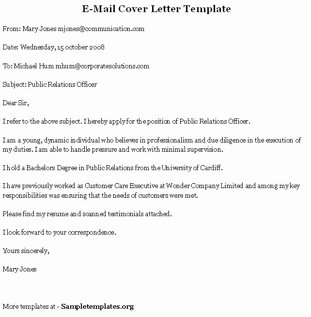 Email Cover Letter Templates Fresh Application Letter Sample Cover Letter Template Email