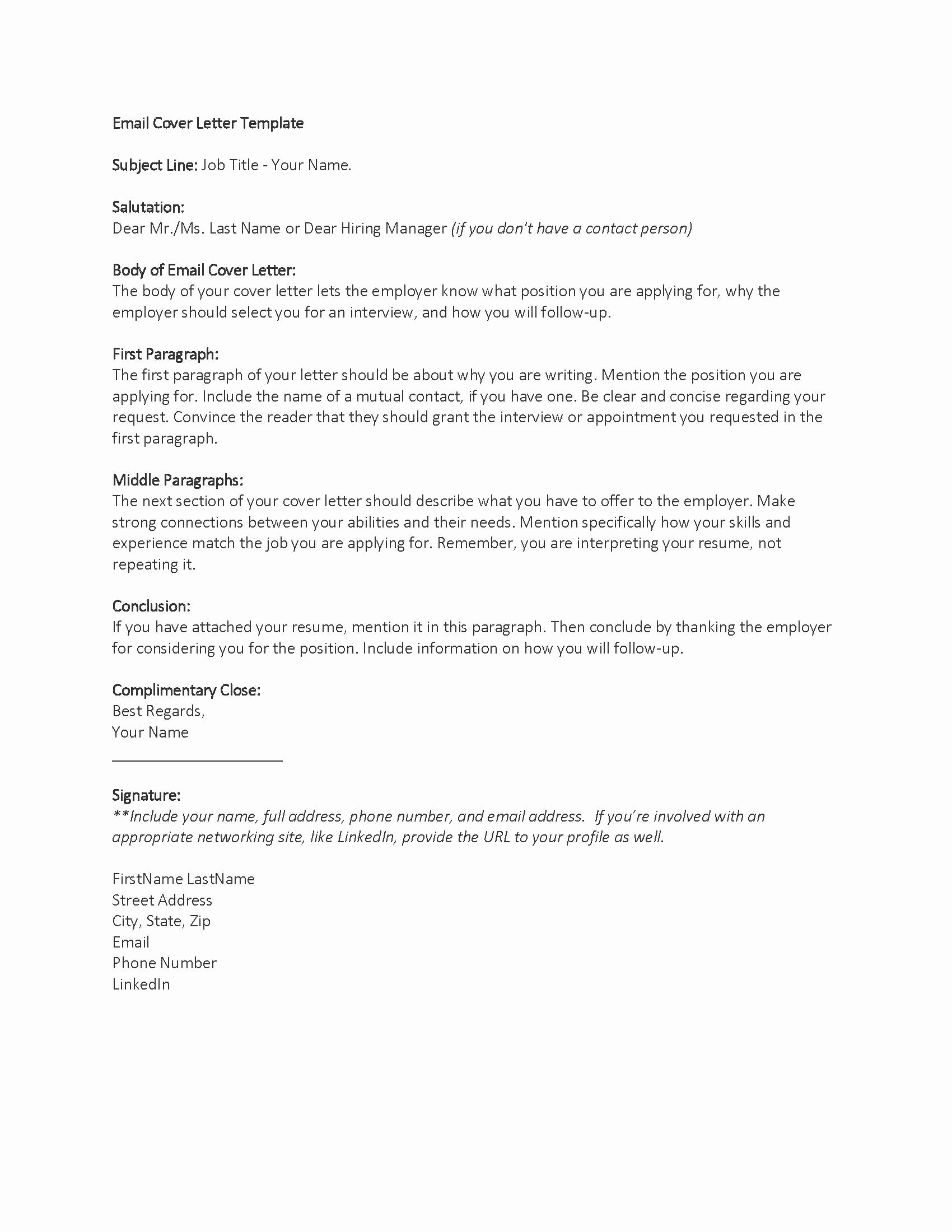 Email Cover Letter Templates Inspirational Application Letter Sample Cover Letter Template Email