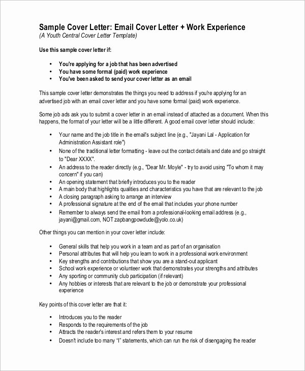 Email Cover Letter Templates Inspirational Sample Cover Letter 9 Examples In Pdf