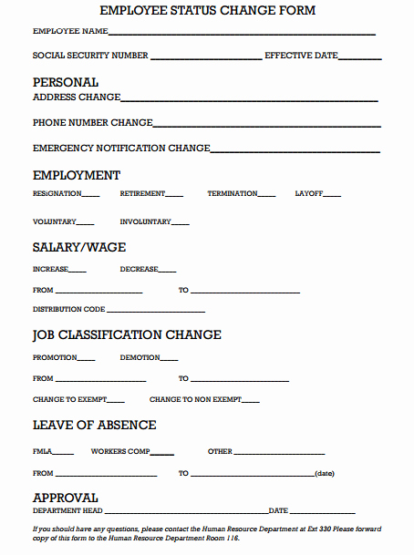 Employee Change form Template Fresh Employee Status Change form 669 Useful Templates