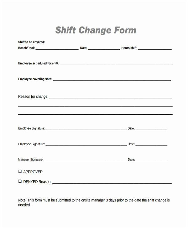 Employee Change form Template Fresh Free 6 Sample Employee Shift Change forms In Pdf