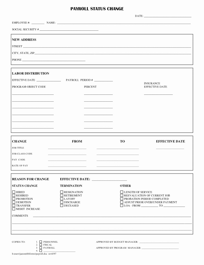 Employee Change form Template Inspirational Employee Status Change forms Word Excel Samples