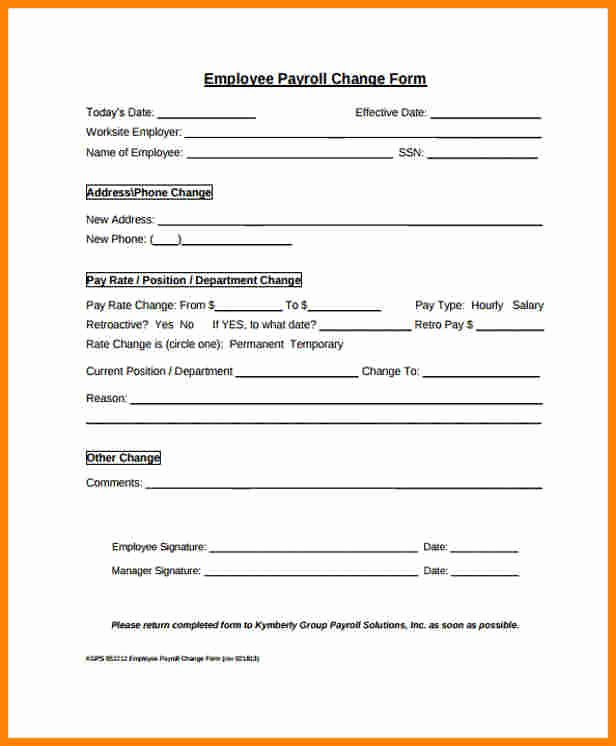 Employee Change form Template Lovely 8 Payroll Change form Template
