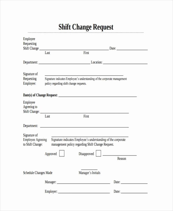 Employee Change form Template Luxury Free 6 Sample Employee Shift Change forms In Pdf