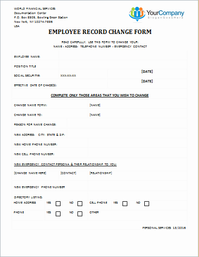 Employee Change form Template Unique Employee Record Change form Editable Printable Word