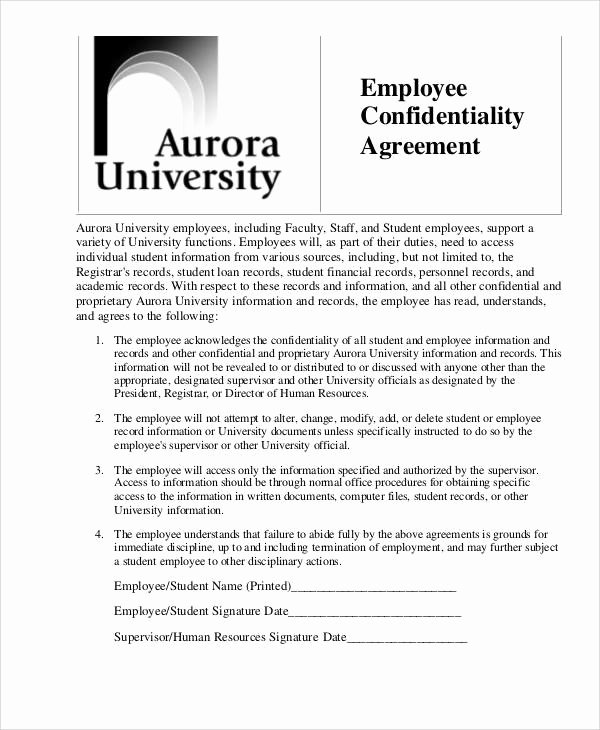 Employee Confidentiality Agreement Template Awesome 8 Hr Confidentiality Agreements Free Word Pdf format