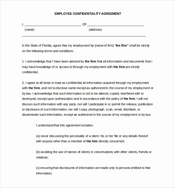 Employee Confidentiality Agreement Template Beautiful Sample Employee Confidentiality Agreement 9 Free