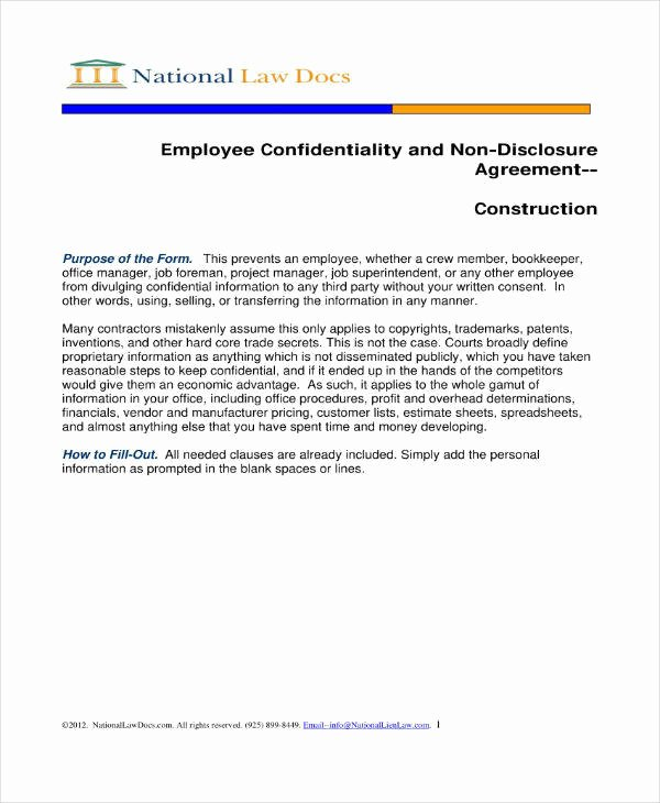 Employee Confidentiality Agreement Template Best Of 11 Employee Confidentiality Agreement Templates Pdf