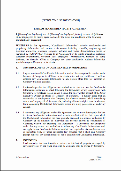 Employee Confidentiality Agreement Template Best Of Employee Confidentiality Agreement