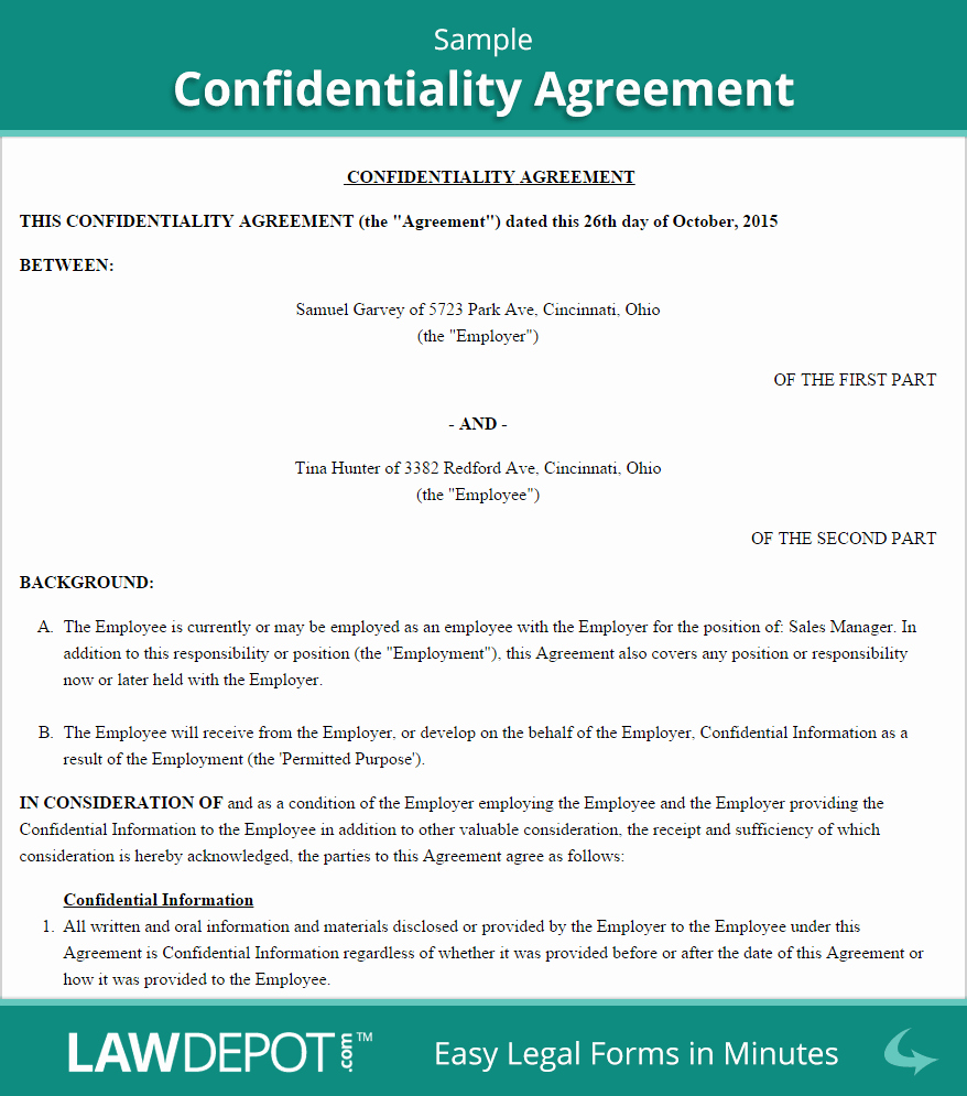 Employee Confidentiality Agreement Template Best Of Employee Confidentiality Agreement Sample