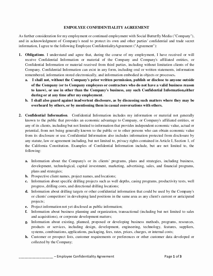 Employee Confidentiality Agreement Template Elegant Empolyee Confidentiality Agreement