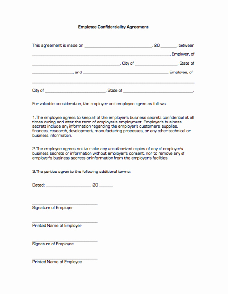 Employee Confidentiality Agreement Template Fresh Confidentiality Agreement form